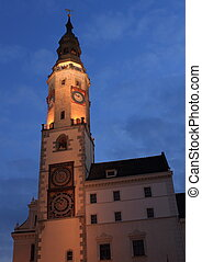 Rathaus in Goerlitz - City hall in Goerlitz city at night