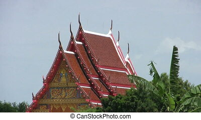 Temple In Rural Thailand - A shot of a Buddhist temple roof...