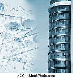 building and blueprints, business collage - Office building...