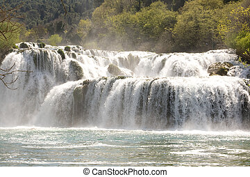 Waterfall in National Park Krka in Croatia