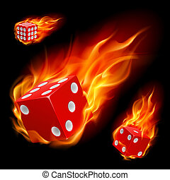 Dice in fire Illustration on black background