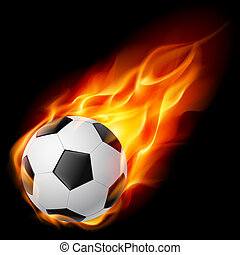 Soccer Ball on Fire Illustration on black background