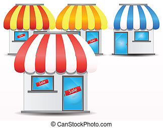 shop icon - Cute shop with red awnings