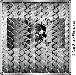 sheet metal behind bars - metallic background - sheet metal...
