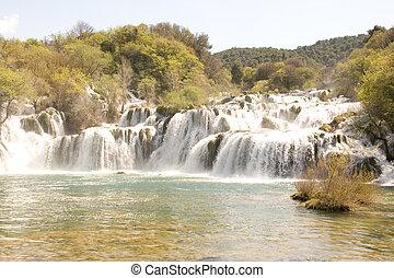 KRKA National Park - Waterfall in National Park Krka in...