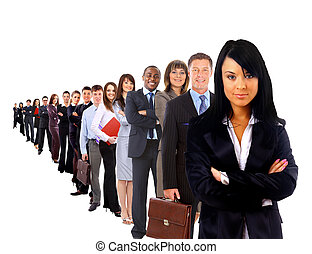 businesswoman and shis team isolated over a white background...