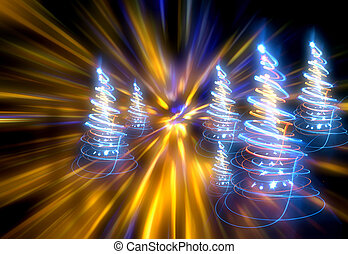 christmas forest from the color lights on the dark...