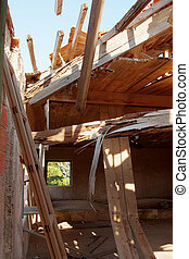 Collapsed Wooden Roof in an Abandoned House