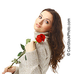 portrait of happy woman with rose