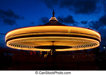 Carousel at Twiling Long Exposure - An old-fashioned...