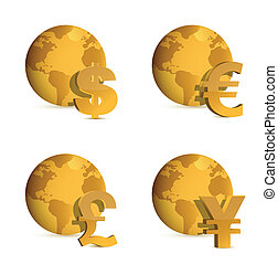 Globe and currency money symbols.