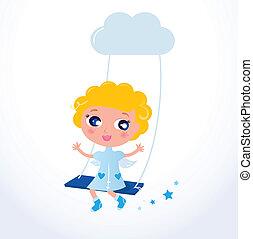 Cute little cartoon Christmas Angel / Cupid with blond hair