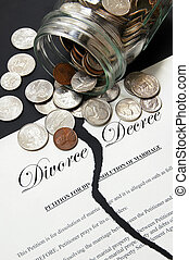 torn divorce agreement and money from a coin jar