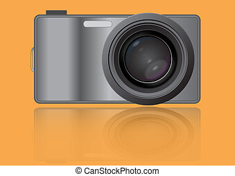 Vector of the digital camera with the big lens