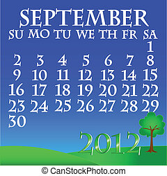 September 2012 landscape calendar - Simple and beautiful sky...