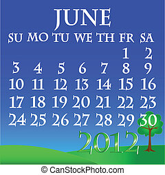 June 2012 landscape calendar - Simple and beautiful sky with...