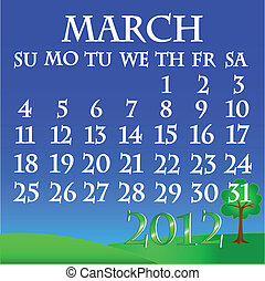March 2012 landscape calendar - Simple and beautiful sky...