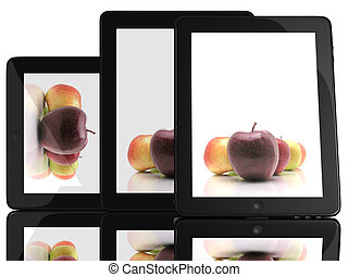 Apple on screen on Tablet computer 3D