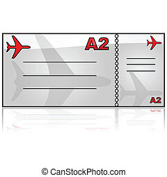 Airplane ticket - Glossy illustration showing a generic...