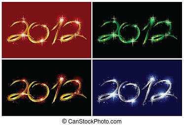 Set christmas card with glow 2012. Vector