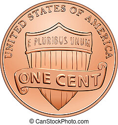 Vector American coin one cent, penny - American money, one...