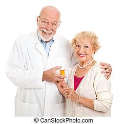 Pharmacist and Customer - Friendly pharmacist and his...