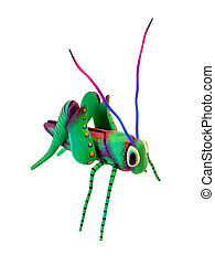 Colorful hand carved grasshopper.
