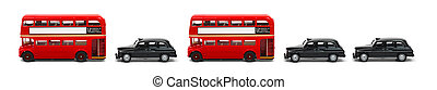 Buses and taxies in a row - Banner of red London buses and...