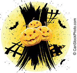 Grungy Halloween background with pumpkins house and bats
