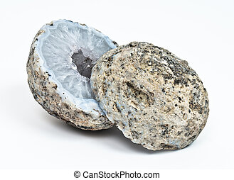 Crystal geode divided in two parts with white quartz...