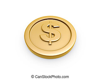 gold coin - dollar symbol gold coin isolated on white...