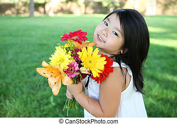 Cute Girl with Flowers