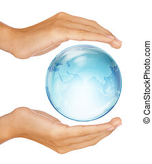 Hands preserving half earth globe - Saving the earth...
