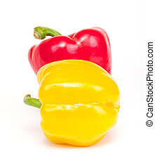 Red and yellow pepper are isolated on a white background