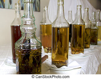 Bottles of olive oilvinegar