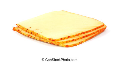Muenster cheese - Four slices of muenster cheese on a white...