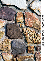 Wall of Stones - Stone wall with a variety of colors and...