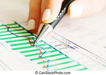 Stock market graphs - Analysis of business graphs and charts...