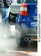 Exhaust pipe and fume gases - Exhaust pipe of the automobile...