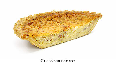 Quiche Lorraine - Half of a quiche lorraine pie on a white...