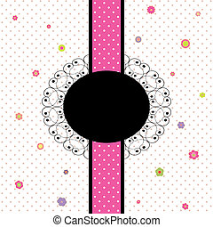 card design with colorful flower and polka dot - vintage...