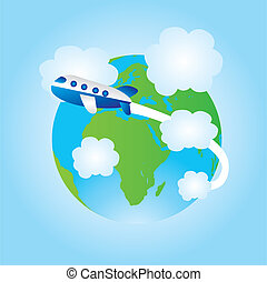 earth and airplane cartoon - blue and green earth and blue...
