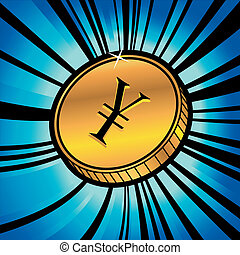coin with symbol of yen currency - illustration of golden...