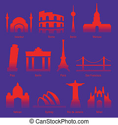 cities of the world - set of sightseeings of tourist cities...