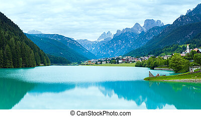 Alpine summer lake view - Tranquil summer Italian dolomites...