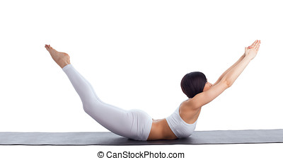 woman exercise bend yoga pose on rubber mat