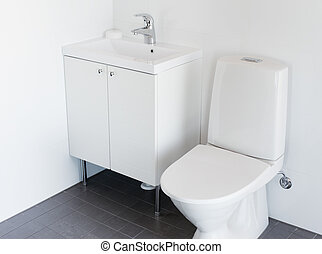 New toilet - New small toilet with white flush toilet and...