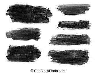 Strokes - High resolution image of black brush strokes on...