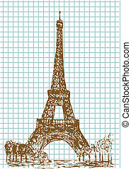 hand drawn eifel tower in brown color
