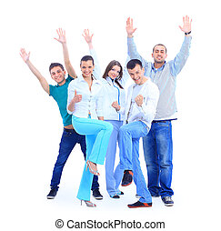 Group of the young smiling people - Group of the young...